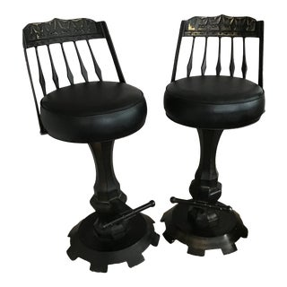 Brutalist Industrial Black Gold Iron Swivel Bar Stools- a Pair For Sale