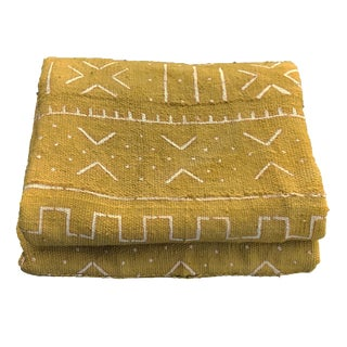 """African Bogolan Mud Cloth Mustard & White Textile 65"""" by 42"""" For Sale"""