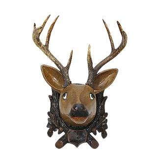 Antique Folk Art Papier-Mâché & Horn Deer - C.1900