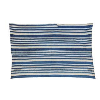 African Indigo Blue Striped Throw