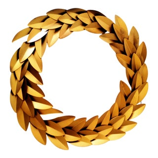 Gold Metal Laurel Leaf Round Wreath Wall Décor Christmas Décor For Sale
