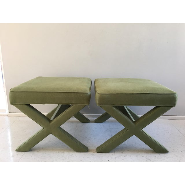 Jonathan Adler X-Bench Green Ottomans - a Pair - Image 3 of 3