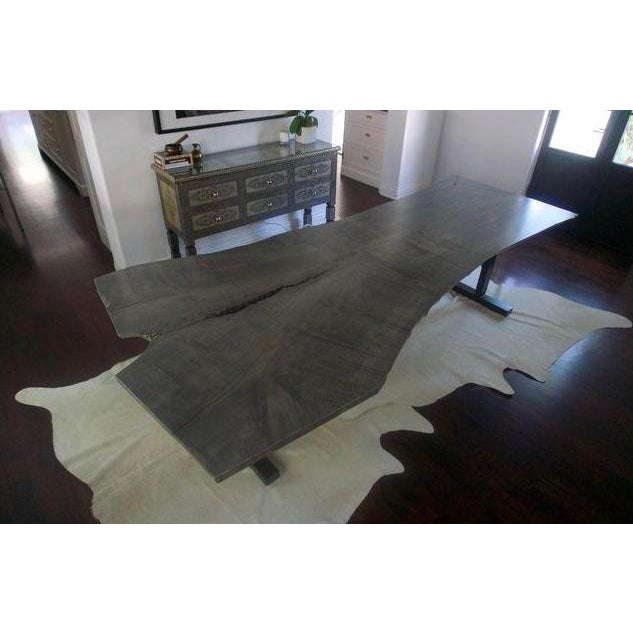 Contemporary Live Edge Grey Wood Dining Room Table For Sale - Image 3 of 8