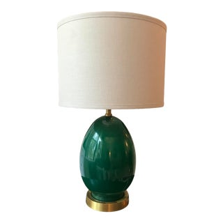 Jamie Young Small Egg Lamp in Emerald Green With Drum Shade For Sale