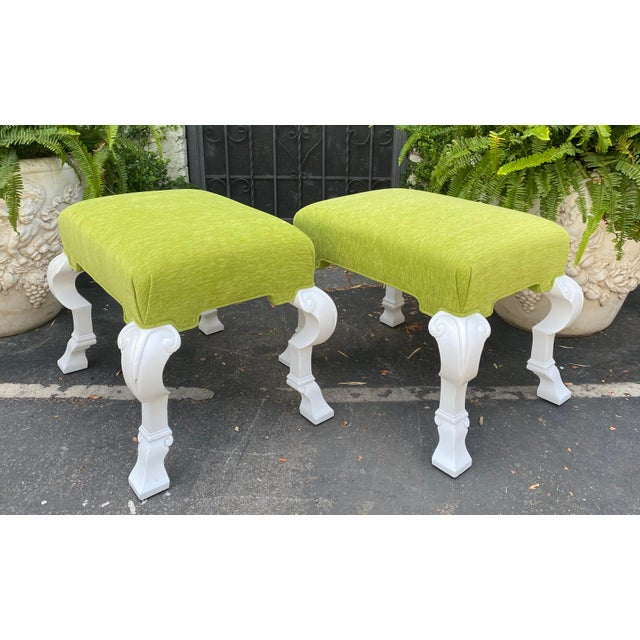 Pair of Charles Pollock Hollywood Regency Chartreus Velvet Ottoman Benches