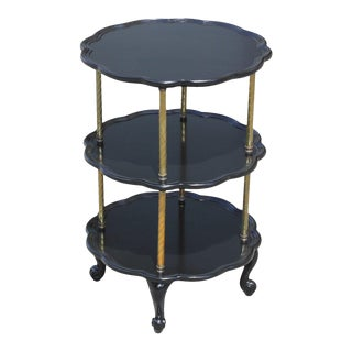 1910s French Louis XV Ebonized Three Tier Side Table For Sale