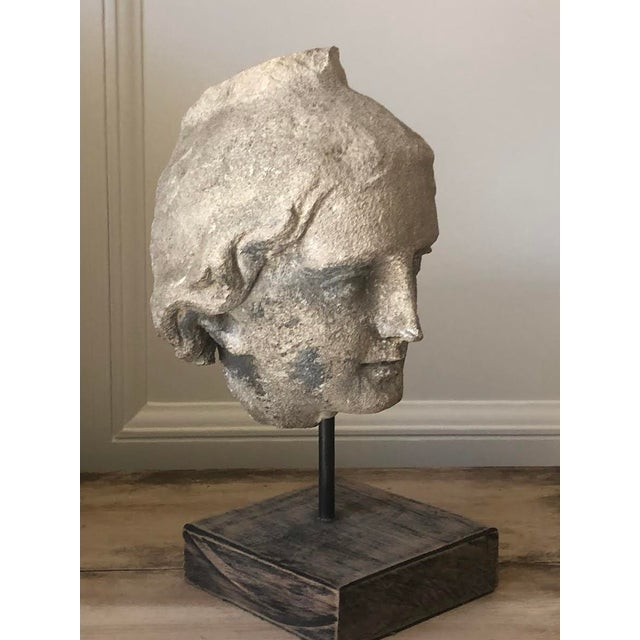 Figurative Limestone Roman Bust on Stand For Sale - Image 3 of 4