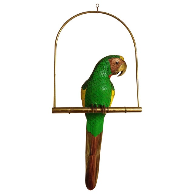 Sergio Bustamante Style Parrot on Perch Brass, Copper & Leather For Sale