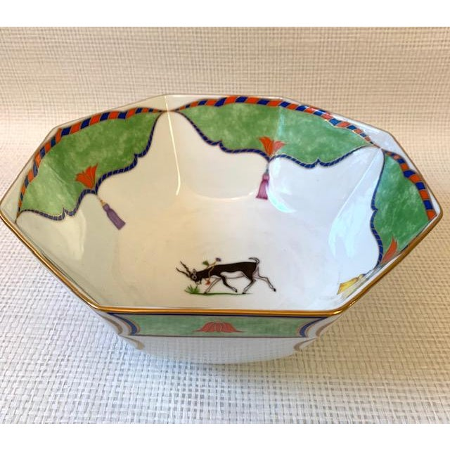 """Large Lynn Chase """"Tiger Raj"""" Octagonal Bowl. Decorated with 24k gold. Antelopes and tigers decorate the bowl with pretty..."""