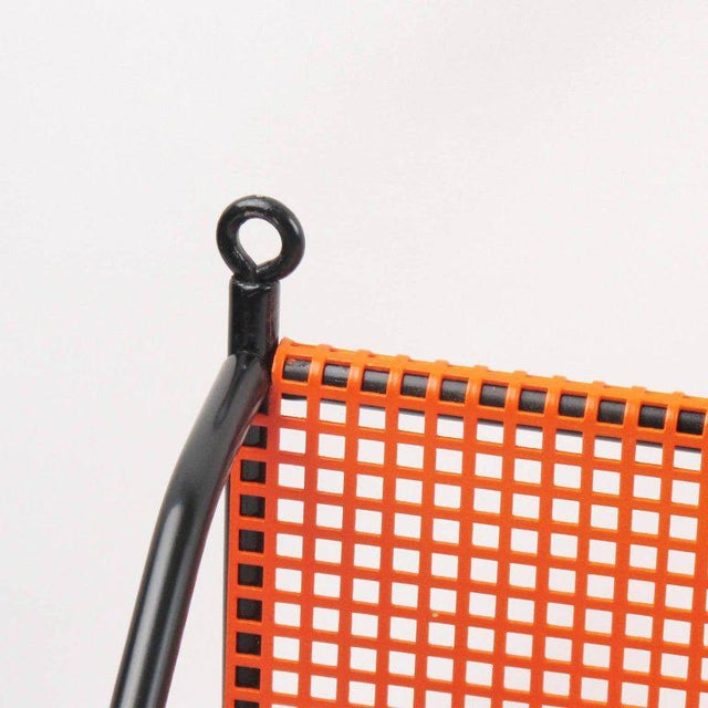 1950s Mathieu Mategot Style Orange Perforated Metal Wall Bookshelf For Sale - Image 5 of 8