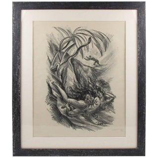 1919 Adolf Uzarski Charcoal Drawing Lithograph For Sale