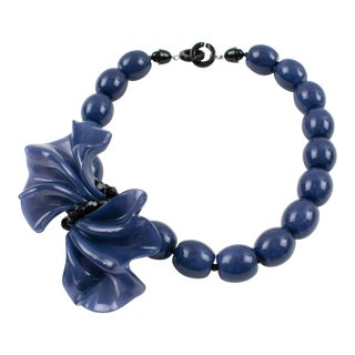 Angela Caputi Black and Berry Blue Resin Necklace With Oversized Bow For Sale