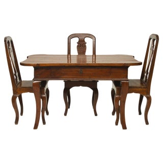 18th Century Italian Walnut Desk and Three Chairs - 4 Pieces For Sale