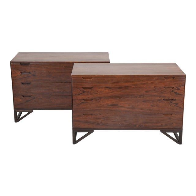 """Svend Langkilde Design Rosewood Dressers on """"Stand Base"""" - a Pair For Sale"""