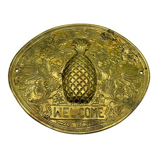 1970s Brass Pineapple 'Welcome' Plaque For Sale