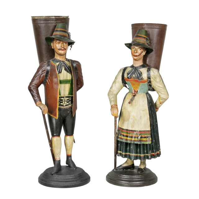 Dutch Painted Toleware Figural Flower Holders - a Pair For Sale