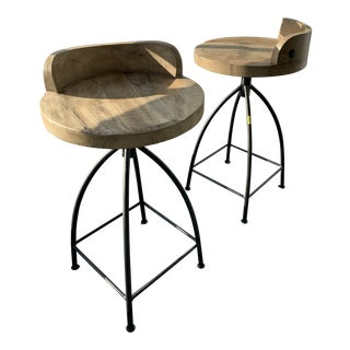Wooden Swivel Seat Counter Stool (2) For Sale