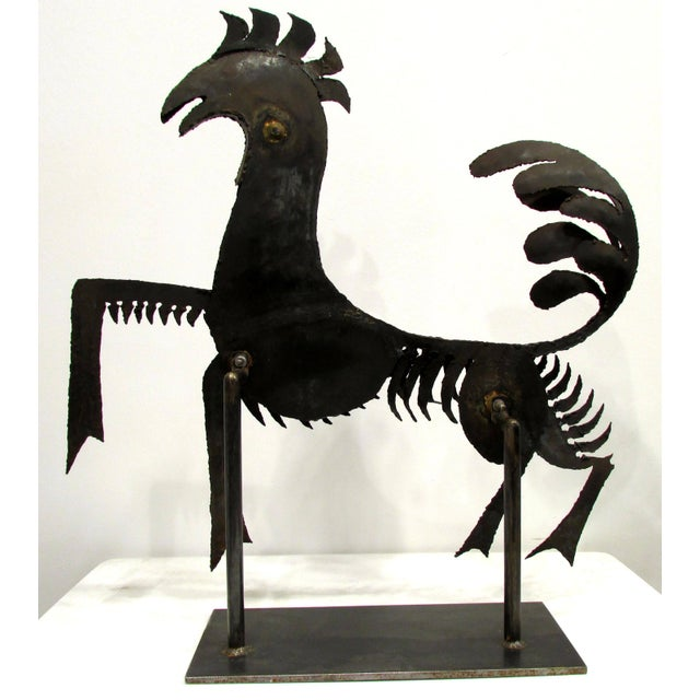 Haitian Metal Rooster Goat Sculpture For Sale - Image 4 of 11