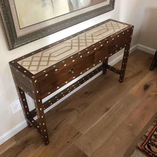 Metal Contemporary Mother of Pearl Inlay Console Table With Marble Top For Sale - Image 7 of 12