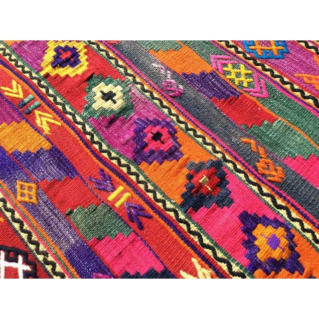 Hot Pink Turkish Kilim Rug For Sale In Raleigh - Image 6 of 9