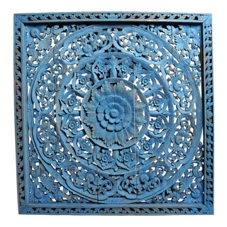 Southeast Asian Wood Carved Flower Panel For Sale