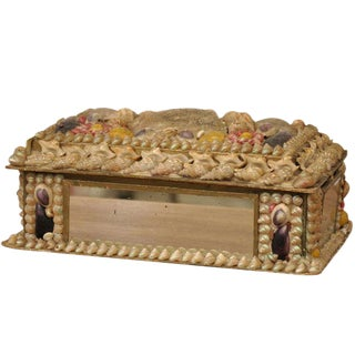 Antique English Shell Decorated Box For Sale