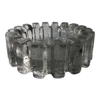 Vintage MCM Brutalist Glass Ashtray Blenko Mid-Century For Sale