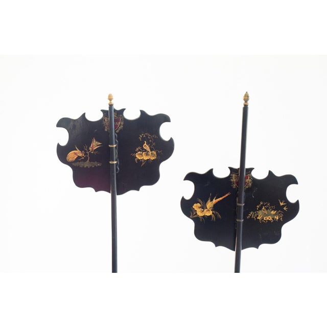 Asian 19th C. English Chinoiserie Pole Fire Screens - a Pair For Sale - Image 3 of 5