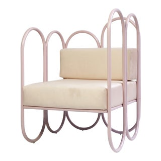 New Pink Arco Armchair With Cushions by Masquespacio & Houtique