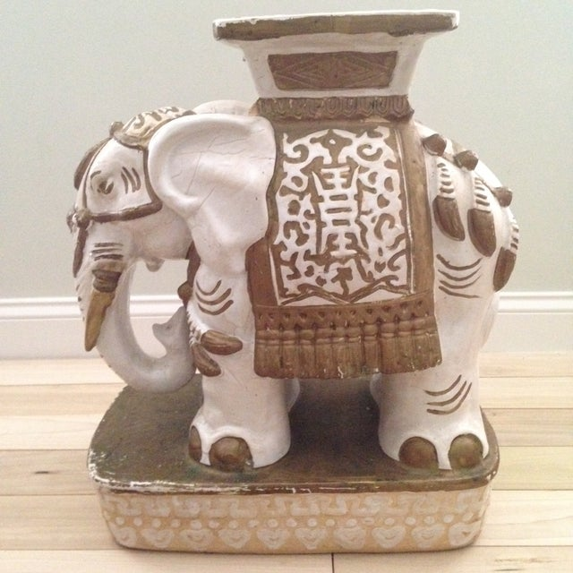 Vintage Ceramic Elephant Garden Stool - Image 2 of 7
