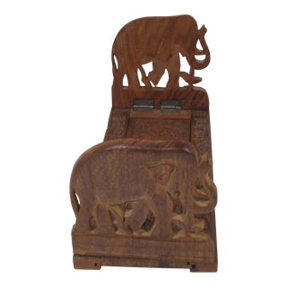 Hand Carved Elephant Expandable Bookstand For Sale