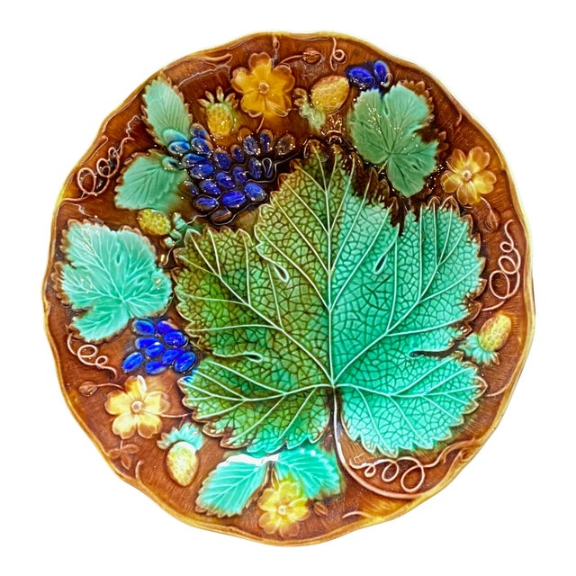 19th Century French Majolica Plate For Sale