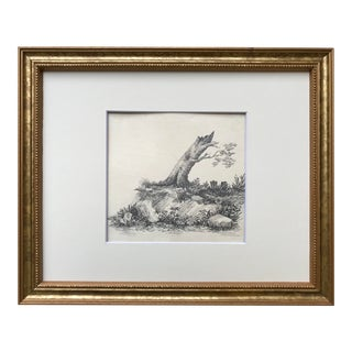 Original Antique French Drawing Landscape With a Tree For Sale