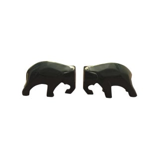 Green Mid-Century Modern Elephant Bookends - Pair For Sale