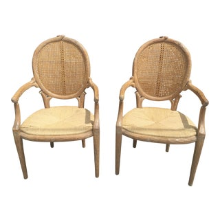 Italian Arm Chairs a Pair Branch Form Cane Back Rush Seat Carved For Sale