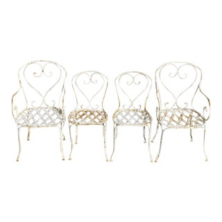 Early 20th Century Antique French Country Wrought Iron Lattice Heart Back Garden Dining Chairs- Set of 4 For Sale