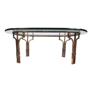 Decorator Style Faux Bamboo Oval Coffee Table For Sale