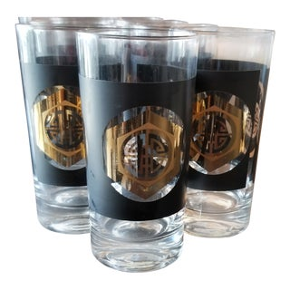 Vintage Mid-Century Gold and Black Asian Motif Highball Glasses - Set of 8 For Sale