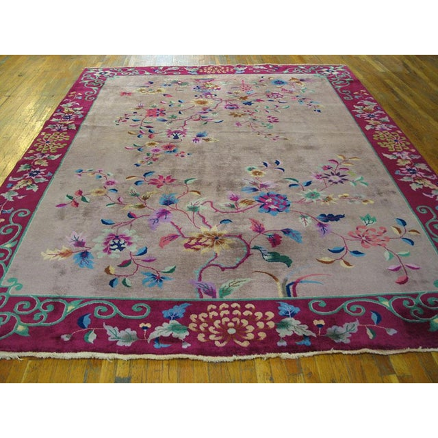 """Antique Chinese Art Deco rug with grey color and 8'10"""" x 11'8""""."""