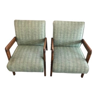 Thonet Green Upholstered Lounge Chairs - a Pair For Sale