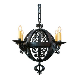1960s Spanish Hand-Forged Iron Globe Chandelier For Sale