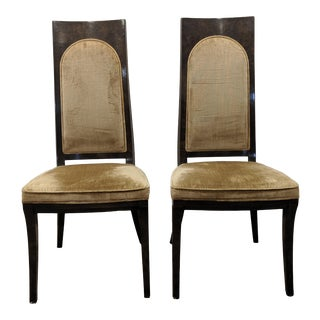 Late 20th Century Mastercraft Amboyna Burl Dining Side Chairs- a Pair For Sale