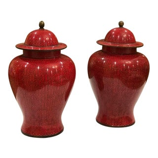 Antique Chinese Enamel Brass Ginger Jars With Lids in Deep Raspberry/Imperial Red - a Pair For Sale