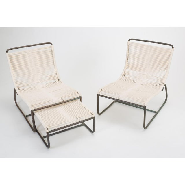 Pair of Walter Lamb Sleigh Chairs With Single Ottoman For Sale - Image 12 of 12