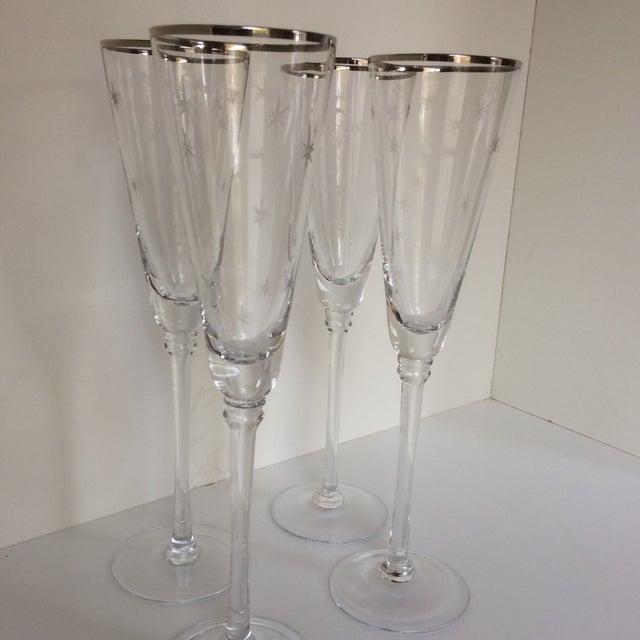 Set Of 4 Silver Rim Etched Starburst Champagne Flutes For Sale - Image 10 of 11