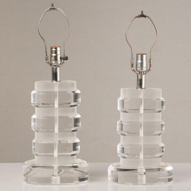 1970s Mid-Century Modern Lucite Lamps - a Pair For Sale - Image 13 of 13