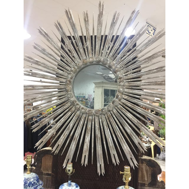 French Very Large 52 Inch Sunburst Mirror For Sale - Image 3 of 6