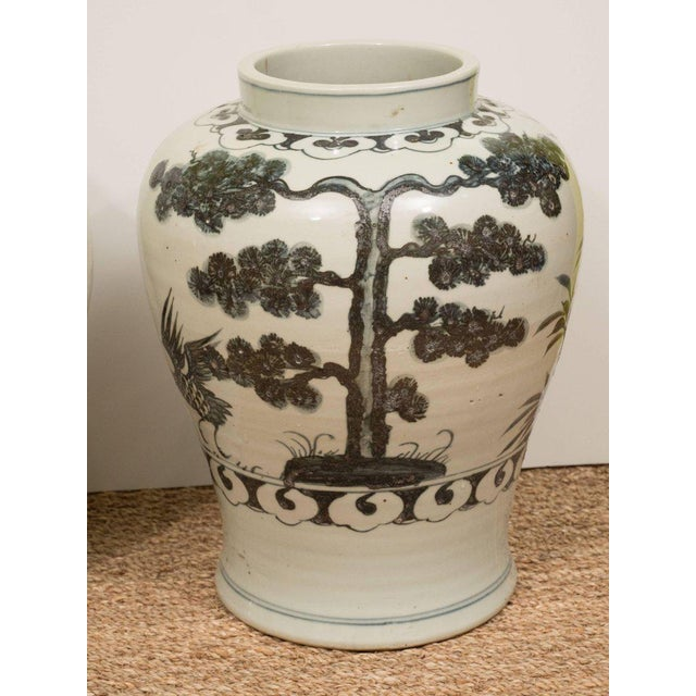 Pair of Black & White Chinese Export Jars - Image 3 of 9