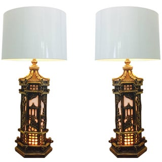 Pair of Chinoiserie Gold Lamps in the Style of James Mont For Sale