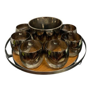 1960s Silver Whiskey/Rocks Glasses, Ice Server and Tray - Set of 10 For Sale
